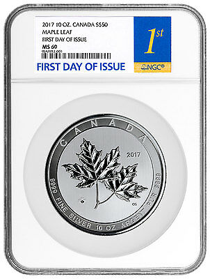 2017 Canada 10 oz Silver Magnificent Maple Leaves $50 NGC MS69 FDI SKU46076