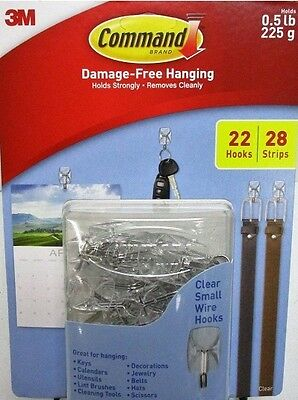 3M Command Damage-Free Hanging 22 Wire Hooks w/ 28 Clear Strips
