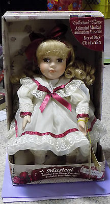 Musical Genuine Bisque Porcelain Doll