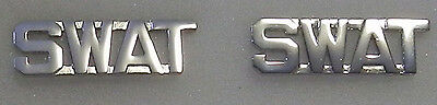 "SWAT Silver 1/2"" Lettering/Letters Pair Collar Pins Rank Insignia (police/fire)"