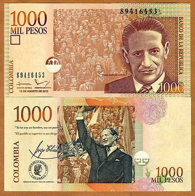 Colombia, 1000 (1,000) Pesos, 2015, P-456-New, UNC   replaced by a coin
