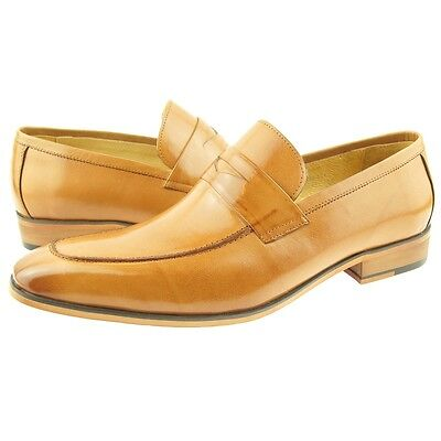 Carrucci Penny Loafer, Men's Dress/Casual Slip-on Leather Shoes, Tan