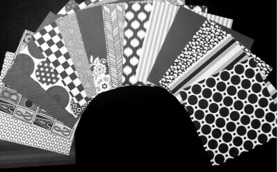 *BLACK JACK* Black & White Papers Scrapbooking/Cardmaking  - 15cm x 15cm (6 x 6)