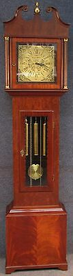 E J Goodfellow Mahogany Brass Dial Westminster Chime Longcase Grandfather Clock