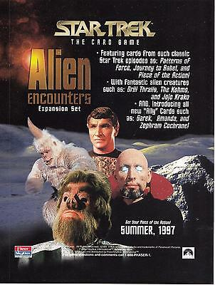 1997 Star Trek The Card Game Alien Encounters Expansion Set sell sheet