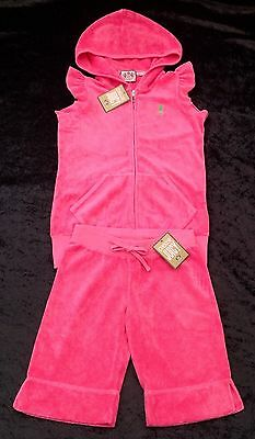 NWT Juicy Couture New Genuin Girls Age 8 Pink Cotton Toweling Shorts & Hoody Set
