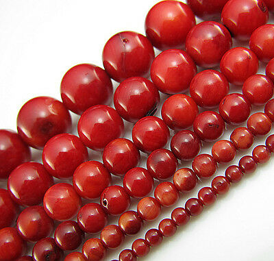 TOP Natural 16inch Red Coral Round spacer Gemstone Bead 3mm 4mm 5mm 6mm 8mm 10mm
