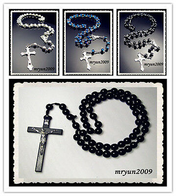NWT Rosary INRI Blue Black AB Crystal Wood beads cross pendant Beaded Necklace