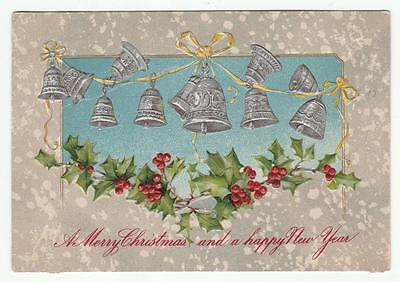 Vintage Greetings Postcard Christmas New Year  Silvered Bells Holly