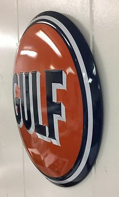 LARGE EMBOSSED GULF GAS STATION MOTOR OIL STEEL 3D SIGN  14'' not porcelain