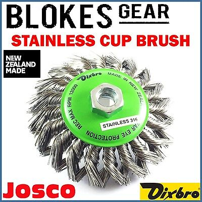 Josco Dixbro Wire Wheel Bevel Cup Brush Knot M14 115mm STAINLESS STEEL MADE NZ