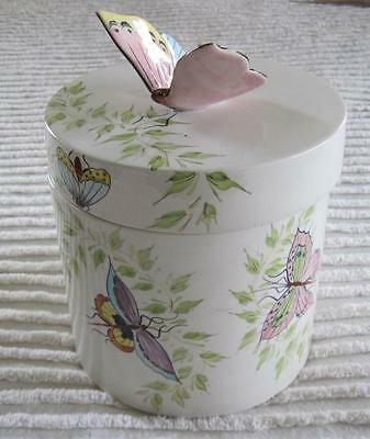 "O.G.G. Italy Hand Painted Butterflies 8"" Canister or Cookie Jar Butterfly Finial"