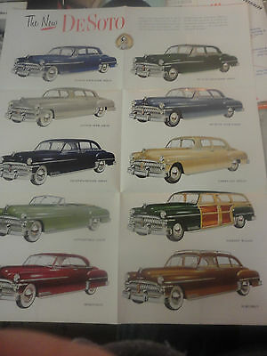 RARE! Amazing 1949 'The New DeSoto' Automobile Brochure Full Page of DeSoto's