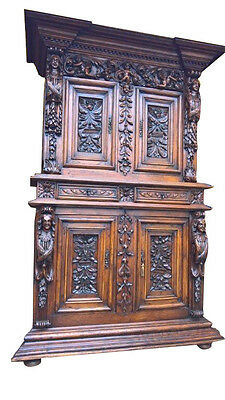 Antique French Renaissance Cabinet Very IMPRESSIVE  19TH Century Carved Figures