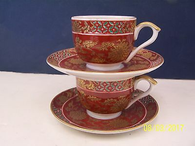 Gold Imari Japan ( 2 ) Maroon Floral Cup and Saucer Sets