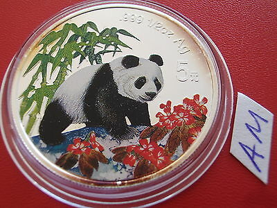1997 China Panda 5 Yuan Silber ST 1/2  oz fein Farbe coloriert / silver colored