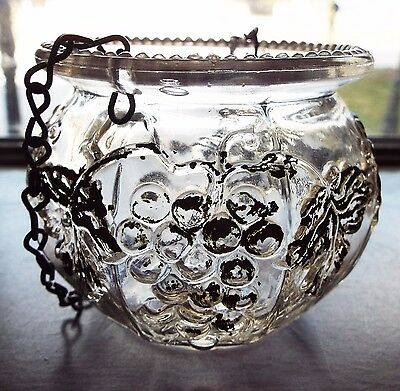Antique Small Clear Glass GRAPE VINE Pattern Hanging Lamp MATCH HOLDER w/ Chain