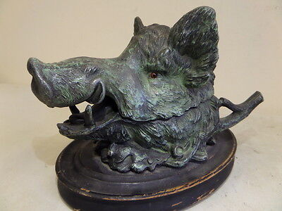 Very Impressive Antique Cold-Painted Metal BOAR Inkwell by Christopher Fratin?