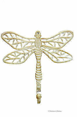 "8.3"" Antique-White Dragonfly Metal Cast Iron Wall Hook Kitchen Hanger Decor"