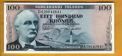 Reduced Banknote Iceland 100 Kronur Crisp New Free Shipping 1961