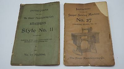 1897 Singer Sewing Machine No 27 Manual & Attachments Style 11 Instructions