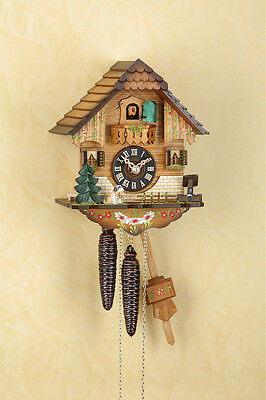 Analog Cuckoo clock with 1-day chain-driven movement,handpainted Black  forest
