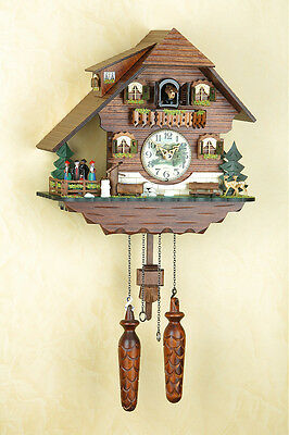 Quartz Cuckoo Clock, Black Forest, Night-Time Shut-Off, Spinning Dancer 408/
