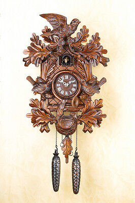 Beautiful Cuckoo Clock,Cuckoo Clock, Black Forest, Wall Clock, Wood Dial 367q