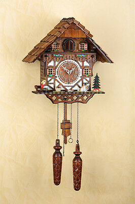 Cuckoo clock, Face Pointer u Weight Wood, Black  forest Made in Germany 404Q