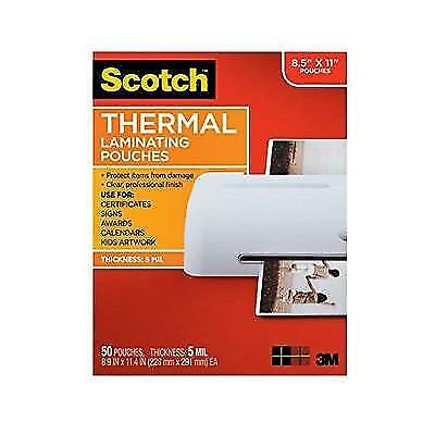 Scotch Thermal Laminating Pouches, 8.9 x 11.4-Inches, 5 mil thick, 50-Pack New