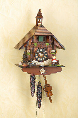 Analog Cuckoo clock with 1-day chain-driven movement Wood dial Black forest 1503