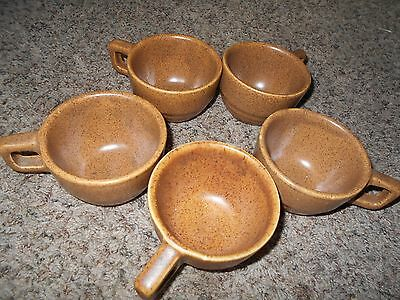 5  Monmouth Pottery Stoneware Maple Leaf USA coffee Cups  Brown Speckled