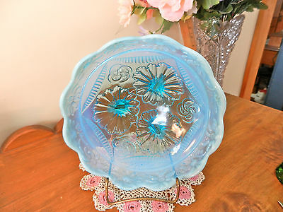 Opalescent Sunflower Interlock Circles Footed Aqua Turquoise Glass Scallop Bowl