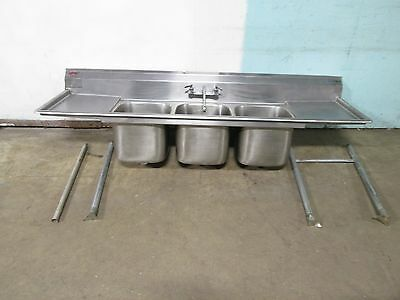 """""""EAGLE"""" HEAVY DUTY COMMERCIAL (90""""W) (NSF)  S.S. 3 COMPARTMENT SINK w/FAUCET"""