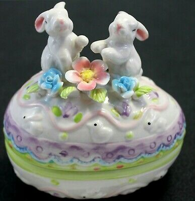 Pink Easter Egg Table Decoration Candy Mint Dish Porcelain Bunny Box Cottontale