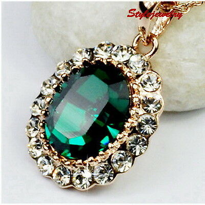 Rose Gold Filled Emerald Green Birth Necklace Made With Swarovski Crystal N298