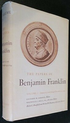Benjamin Franklin Papers Book,Yale U. Vol 1,Index,Letters,Essays,Business Papers