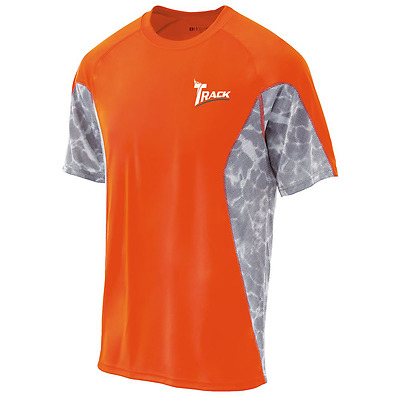 Track Men's Synergy Performance Crew Bowling Shirt Dri-Fit Orange