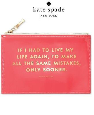 """NWT Kate Spade """" SAME MISTAKES """" Patent Leather Pencil Pouch/ Organizer"""