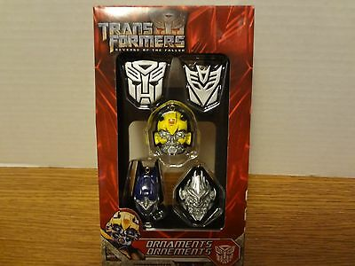 Revenge of the Fallen Optimus Prime Bumblebee Megatron Mini Ornament 5 Pc Hasbro