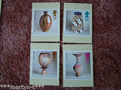PHQ Stamp cards FDI (Back) No 105 Studio Pottery 1987. 4 card set Mint Condition