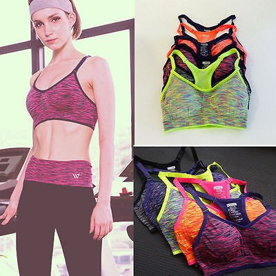 Womens Active Quick-Drying Section Stained Push Up Padded Running Yoga Sport Bra