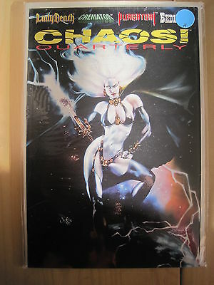 LADY DEATH in CHAOS QUARTERLY #1. Also CREMATOR, PURGATORI, BEDLAM. CHAOS. 1996