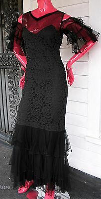Vintage Black Lace Long Dress Early Twentieth Century with Matching Jacket XS