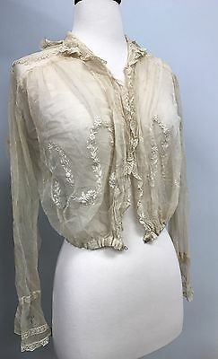 1910s Edwardian Antique cream net lace blouse with flower embroidery