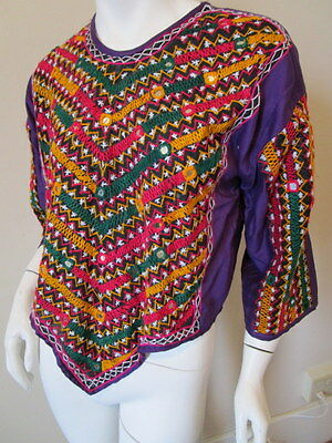 Vtg  INDIA Embroidered Hippie Boho BLOUSE SHIRT TOP TUNIC S PURPLE