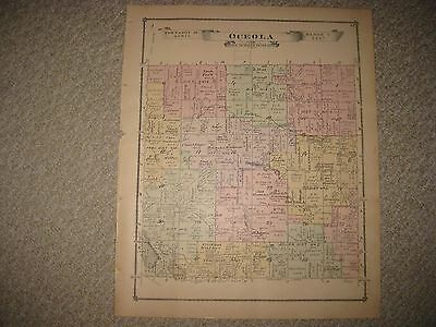 Antique 1875 Osecola Township Livingston County Michigan Handcolored Map Rare Nr