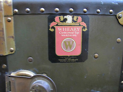WHEARY GREEN ANTIQUE WARDROBE STEAMER TRUNK - early 1900's