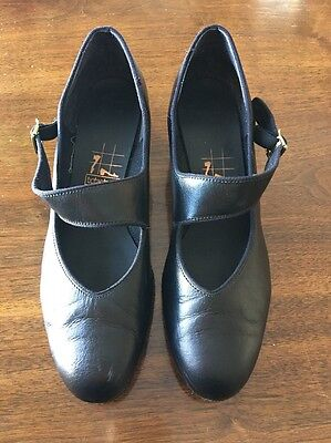 Ladies Ballroom Mary Jane Black Leather Dance Shoes Tic Tac Toes 9.5 M