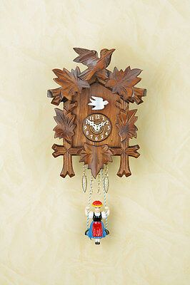Black Forest Clock Nut Pendulum Swinging Wooden Dial Made in Germany 70s Nu